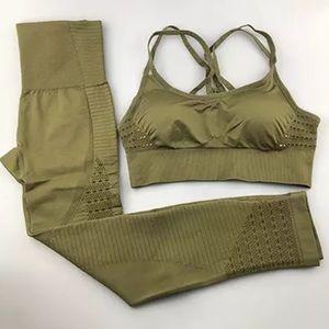 Olive Energy Seamless Compression Activewear Set